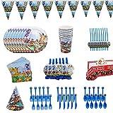 Suministros Vajilla de Fiesta Set,Juego Vajilla Fiesta Cumpleaños Papel,Platos Mantel Servilletas Vajilla Cumpleaños Decoracion para Niños,Lego Party Supplies Vajilla para Fiestas Diseño- 94PCS