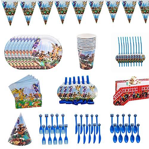 94-teiliges Spiel Partyzubehör Set,Party Tableware,einschließlich Banner,Tischdecke,Teller,Tassen,Servietten,Hut,Trinkhalme,Schlag Drachen,Löffel,Gabeln,Messer,Roblox Party Supplies für Kinder