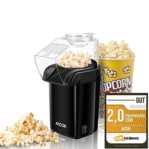 Popcornmaschine, Popcorn Maker Machine für Zuhause, Heissluft Popcornmaker Ohne Fett Fettfrei Ölfrei, Messlöffel, Aicok 1200W Popcorn Popper, Schwarz