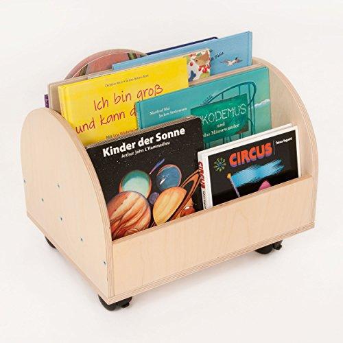 FLIXI Bücherkiste – Aufbewahrungsbox für Bücher aus Birkenholz mit Rollen – Platz für 20 Bücher – Holz Kiste für Kinder
