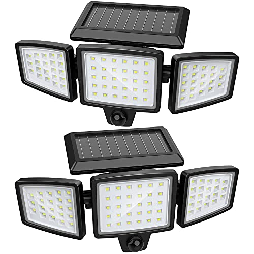 Becament Solar Lights Outdoor, Solar Powered Led Flood Security Motion Sensor Lights Outdoor, 1200LM Bright Spot Flood Light Outside with 72 LED and IP65 Waterproof for Garage Porch Yard Patio, 2 Pack
