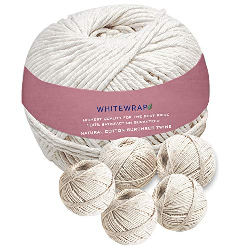 WHITEWRAP Butchers Twine 100% Organic Cotton Natural Color Chef Grade Food Safe Cooking Baking Trussing Kitchen DIY Craft - 5 Pack 11 Ply 1000 ft