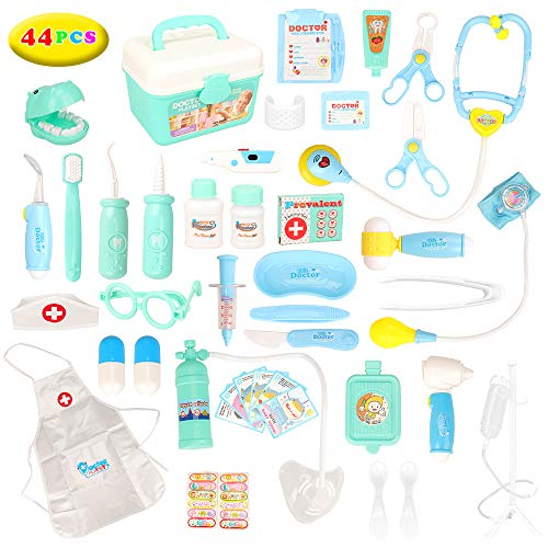 Barwa 44pcs Doctors Kit for Children, Prentent Play Dentist Medical Kit with Electronic Tools and Coat for Kids, Roll Play Toys Medical Equipment for Boys Girls