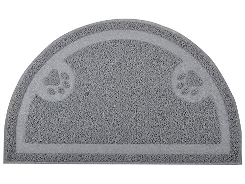 D&M DM Katze Tablett mat, Tür, Kitty Katzentoilette Teppich, Halbkreis, Pfotenabdruckmotiv, 59,7x 36,2cm