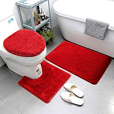 Smart Linen 3 Piece Bathroom Rug Set Includes Bath Rug, Contour Mat and Toilet Lid Cover, Machine Washable, Super Soft Microfiber & Non Slip Bath Rugs with Rubber Backing Solid (Red)
