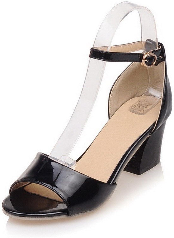WeenFashion Women's Solid PU Kitten-Heels Open Toe Buckle Sandals with Wrist Strap