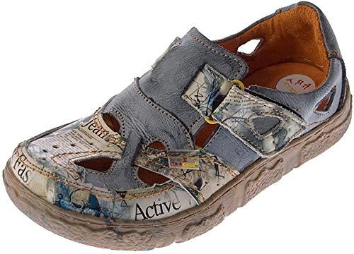 TMA Damen Comfort Leder Sandaletten 7008 Schuhe Grau-Schwarz Zeitungsdruck Halbschuhe Sandalen Gr. 36