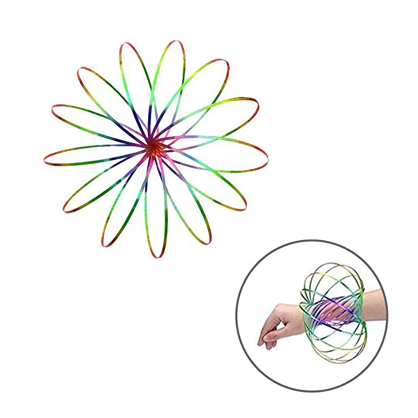 Beaverve Flow Ring Kinetic Spring Toy, Arm Spinner Toy Flow Ring Slinky Toy, Fidget Slinky 3D Spring Toy for Adult & Child Science Education Interaction Stress-Relieving Toys Creative Gifts - Rainbow