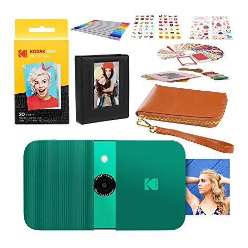 KODAK Smile Sofortbildkamera (grün) 2x3 Fotoalbum-Kit