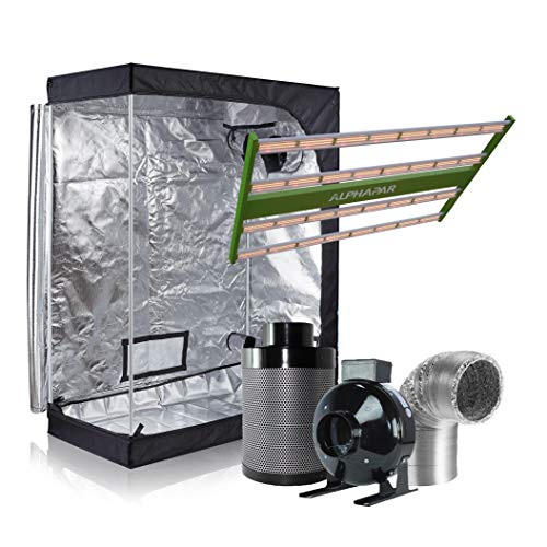 Prime Garden Alphapar 400W New Tech Full Spectrum LED Grow Light Fixture + 48'x24'x60' Grow Tent + 4' Inline Fan+ 4' Carbon Filter + Duct Combo Complete Kit for Hydroponics Growing