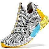 Zapatillas de Running para Unisex Niños Gimnasia Ligero Running Atletismo Sneakers Niñas Gris Claro,31 EU