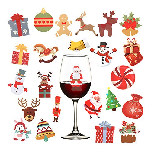 5 Sheets 120pcs Christmas Wine Glass Drink Markers- Xmas Static Cling Stickers in 24 Styles Decorative Wine Glass Tags Removable Champagne Cocktail Drink Markers Wine Charms Alternative Party Favors