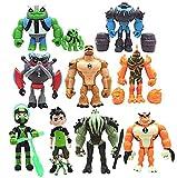 Ben 10 Action Figure Toys for Kid's Gift, Ben 10 Toys Set(Ben,Grey Matter,Rath,Hot Shot,Slapback,Armored Shock Rock,Vilgax,Humungousaur,Rustbuggy Ben,Omni-Enhanced Overflow)(11pcs)