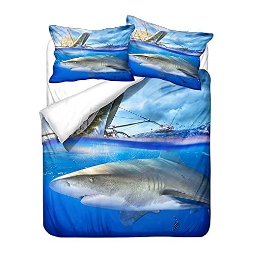 HNHDDZ Ropa de Cama Infantil Dibujos Animados Oceano Tiburón Funda de edredón Azul Microfibra Funda nórdica Niños Niñas Juego de Cama Todas Las Temporadas (Estilo 6, 180x220 cm - Cama 105 cm)