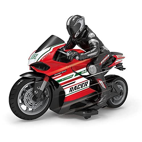 DBXMFZW RC Motorbike, 2.4G Motocicleta de Cross-Couth Cross-Couth, 2.4G, 2WD RC Motorcycle Toy, 360 ° Rotating Drift Stunt Motocicletas, Regalos de cumpleaños para niños, Equipado con un Jinete