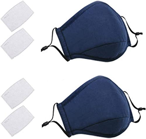 2 Pack Face Covers with 4 Air Filter Cotton Liner Washable Reusable Face Protector with Adjustable Straps-Dark Blue