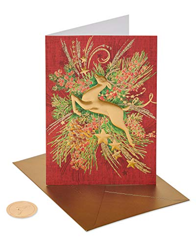 Papyrus Christmas Cards Boxed, Gold Holiday Reindeer Forest (12-Count)