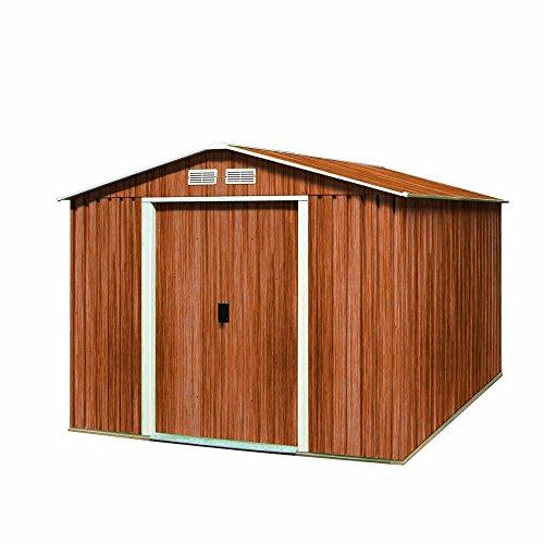 Tepro Metallgerätehaus Titan 8x8 Holzoptik, inkl. Unterkonstruktion mit Giebeldach bestehend aus: DH 8x6 7125 + 1 x EX 8x6 7225 + Unterkonstruktion 7105 + Unterkonstruktion Erweiterung 7108