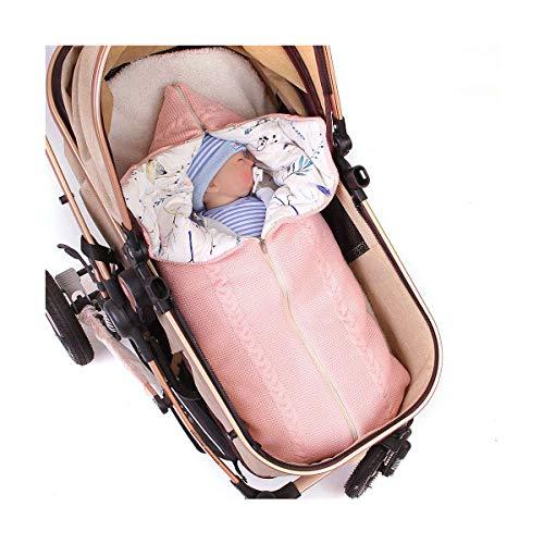 FREEHM Manta para Bebé Recién Nacido, Gruesa Y Cálida para Cochecitos De Punto Más Terciopelo, Saco De Dormir para Bebé O Niño,Manta Envolvente,Anti-Patada Saco De Dormir,Rosado
