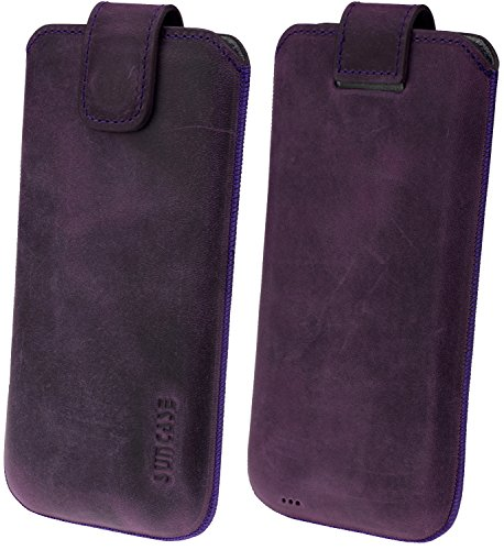 Suncase ECHT Ledertasche Leder Etui für LG V35 ThinQ | LG V30 | LG V30+ Tasche (mit Rückzugsfunktion) antik-lila