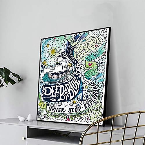 EUpMB Leinwanddrucke Kunstdruck Moderne Bilder, modernes Familienschlafzimmer Dekor Poster, Tiefblaues Meer, das...