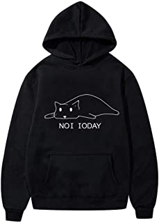 Women's Casual Cute Cat Print Hoodie Shirt Long Sleeve Front Pocket Tops Blouse