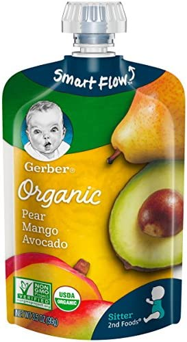 Gerber Organic 2nd Foods Pear Mango Avocado Pureed Baby Food 3 5 Ounce Pouch Pack of 12 product image
