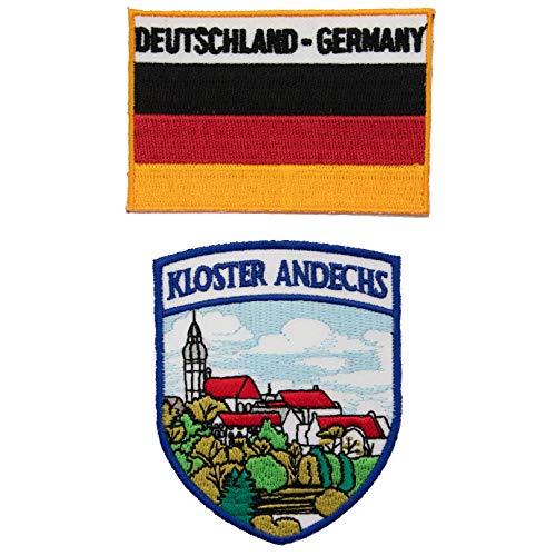 A-ONE Aufnäher mit Andechs-Motiv & Deutschland-Flagge, zum Aufbügeln, bestickt mit hitzeversiegelter Rückseite, Landmarken-Abzeichen, Souvenir, 2 Stück