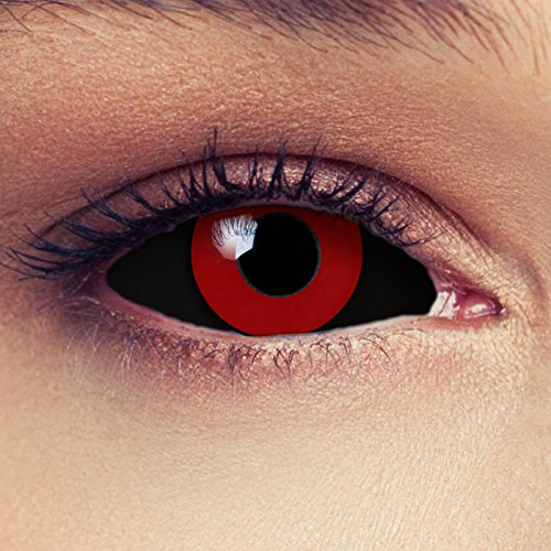 """Designlenses, Dos Sclera lentillas de color negro y rojo para Halloween 22mm Tokyo Ghoul Zombi sin dioprtías/corregir + gratis caso de lente """"Saw"""""""