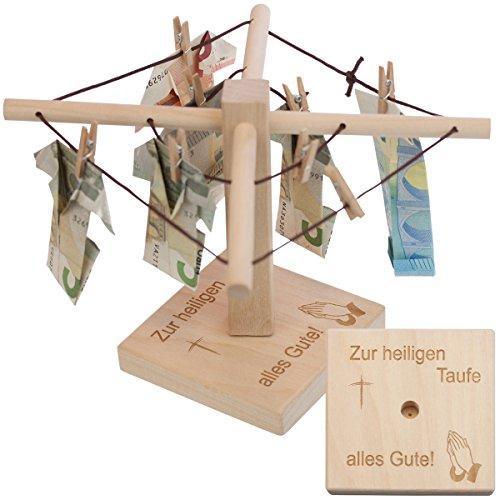Geld-Wäschespinne zur Taufe (Taufsymbol): Ein kreatives Geldgeschenk für Dein Patenkind - individualisierbar mit persönlicher Gravur für Jungen und Mädchen mit, personaliserte Taufgeschenke