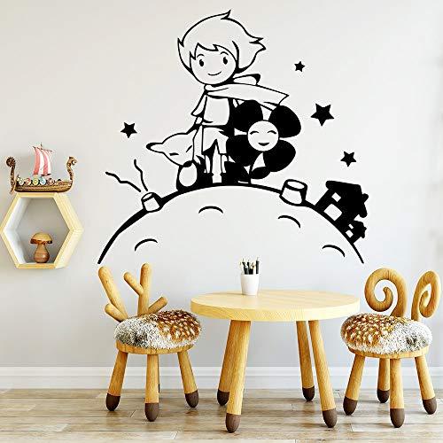 HNXDP Cartoon kleiner Prinz Vinyl Wandaufkleber Tapete für Jungen Mädchen Kinderzimmer Wandkunst Aufkleber 57cmx60cm