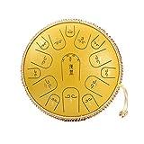 WellingA Steel Pan Drum Stahl Tongue Drum 14 Zoll 15 Töne Hand Pan Drum mit Trommelschlägeln Tragetasche Note Sticks für Meditation Yoga für Anfänger Auf Professionellem Niveau,004