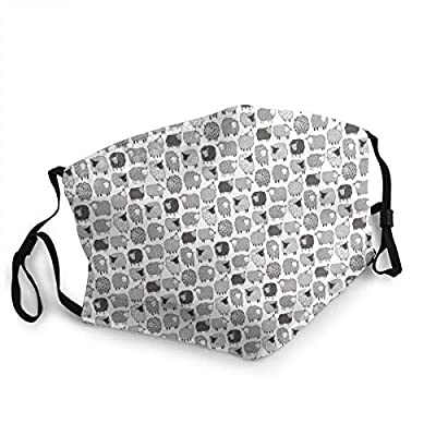 Anti_Dust_Mask Sheep Geometric Patterned Black U White Grey On White Tiny Inch_Mouth_Mask_Anti_Pollution_Face_Mask_Cover