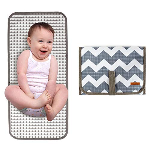 Baby Portable Diaper Changing Pad, Travel Mat Station for Infants and Newborns - (Chevron) Small and Compact Design