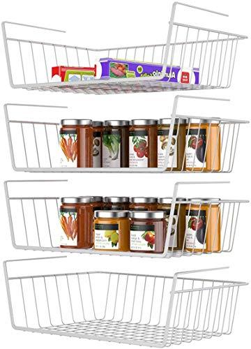 Under Shelf Basket, Veckle 4 Pack Under Shelf Wire Baskets Hanging Baskets Under Shelves Storage Rack for Kitchen Bookshelf Pantry Slide-in Baskets Organizer White