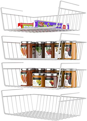 Under Shelf Basket, Veckle 4 Pack Under Shelf Wire Baskets Hanging Baskets Under Shelves Storage Rack for Kitchen Bookshelf Pantry Slide-in Baskets Organizer White