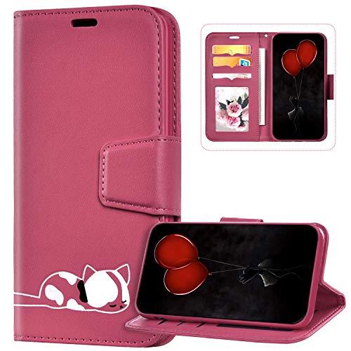 Funda Billetera Compatible con iPhone 6S Plus, Cuero de PU Cartera Folio Carcasa con Gato Diseño Cierre Magnético Soporte Antigolpes Libro Flip Piel Cubierta Protectora para iPhone 6 Plus/6S Plus,Roja