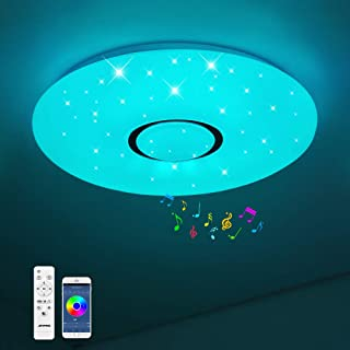 JDONG Plafonnier Bluetooth, LED avec haut-parleur, télécommande et application de contrôle, changement de couleur RGB, int...