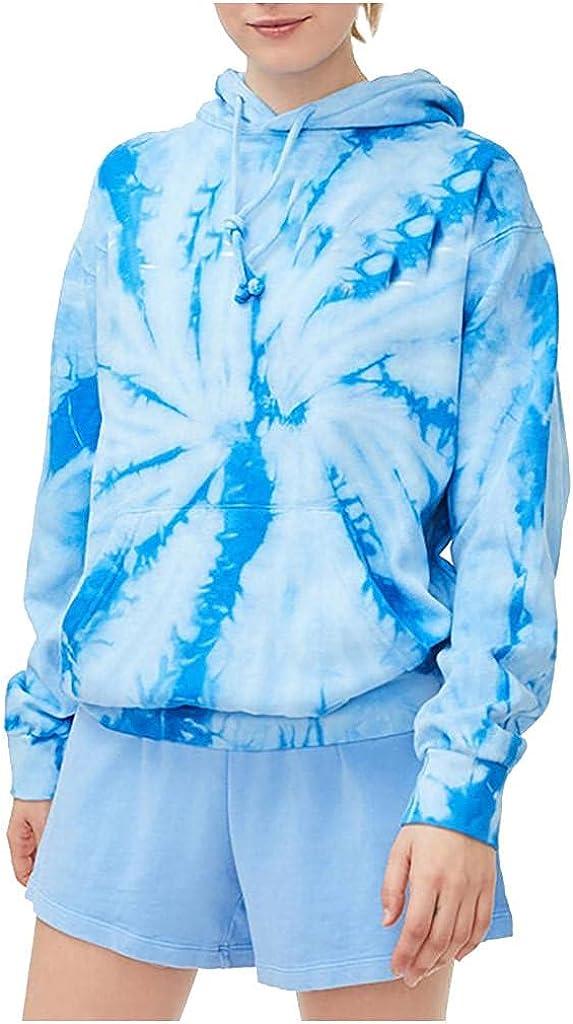 lucyouth Tie Dye Sweatshirts for Women Casual Long Sleeve Pullover Lightweight Pocket Blouse Tops Hooded Sweatshirt