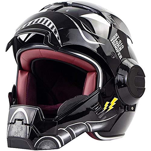 Casco integral para motocicleta, casco Intage de motocicleta Harley para hombres y mujeres adultos, casco con máscara abatible para ciclomotor, cascos de protección que cumplen con las leyes viales
