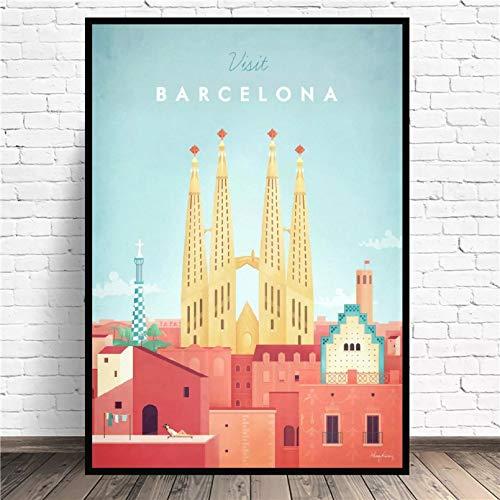 N/A Lienzo para Imprimir Carteles Cuadro En Lienzo De Viaje Minimalista De Barcelona Póster con Impresión Artística Imagen De Pared Dormitorio Minimalista Moderno Decoración De Sala De Estar