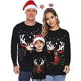 Pull Sweat Noel Famille Pulls Homme Renne Hiver Sweatshirt Femme Pas Cher Sweat-Shirt Enfant Mère Père Pullover 3D Noël Imprimé Xmas Tops T-Shirt Youngii(Noir 1,Père/XXL)
