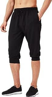 Naviskin Men's 3/4 Workout Training Jogger Capri Pants Athletic Gym Running Yoga Shorts Zipper Pockets