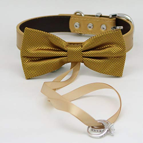 Gifts Gold bow tie collar Leather dog Very popular! of ring adju bearer honor