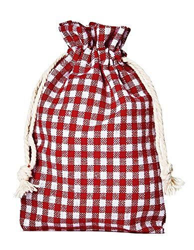 organzabeutel24 | 12 Baumwollsäckchen, Baumwollbeutel im Landhaus-Look, Größe 20x12cm, Geschenkverpackung, Tischdekoration, Landhaus-Dekoration, Oktoberfest, kariert, Lifestyle, Home (rot-weiss)