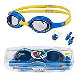 KidSwim Gafas de natación para niños de 4 a 12 años, sin fugas, resistentes al agua, lentes antivaho y correa de silicona suave
