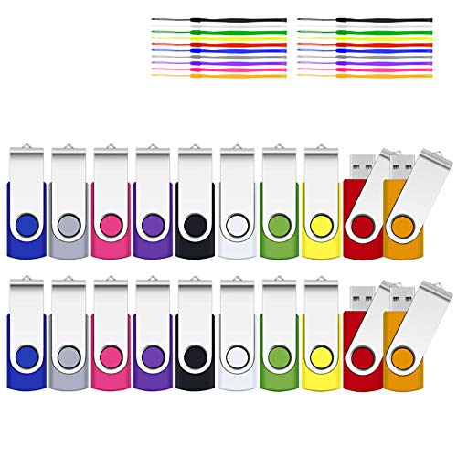 4GB USB Stick, SRVR 20 Stück Speicherstick USB-Flash-Laufwerk Mehrfarbig Memory Stick Datenspeicher USB 2.0 mit Kappe LED Anzeige Schlüsselband