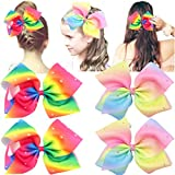 4 Pcs Big Hair Bows with Alligator Clips Sparkly Glitter 7 Inch Rainbow Bow Hair Clips for Girls Accessories