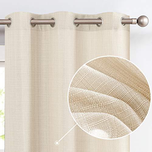 jinchan Burlap Linen Textured Curtains for Living Room Bedroom Window Panels Grommet Light Filtering 2 Panels Beige 84 inch Long