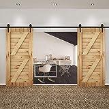 Homgrace Kit de porte coulissante pour porte coulissante ou coulissante, barre coulissante et système de portières intérieures, forme flèche Noir, noir